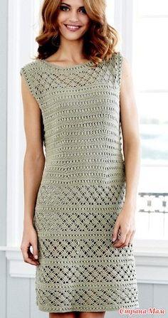 Элегантное платье крючком фантазийными узорами. За основу возьмите описание вязания туники: Источник: http://www.liveinternet.ru/
