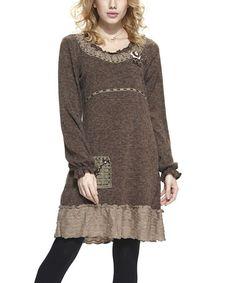 Another great find on #zulily! Brown Ruffle Wool-Blend Tunic - Women #zulilyfinds