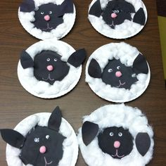 'out like a lamb' end of march craft! We used paper plates and cut out a black construction paper and glued to the center of the plate. We then glued cotton balls around the construction paper. We cut out the ears added the pink nose and googly eyes and it was done :) very easy craft!! We had tons of fun!