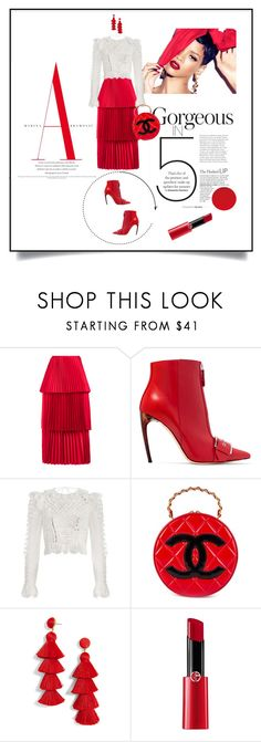 """""""Put on Your Red Shoes"""" by lovetodrinktea ❤ liked on Polyvore featuring MAC Cosmetics, VANINA, Alexander McQueen, Zimmermann, Chanel, BaubleBar and Giorgio Armani"""