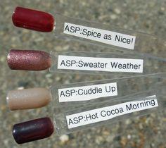 "ASP gel ""Flair For Fall"" 2014 Asp Gel Polish, Gel Polish Colors, Nail Polish, Red Carpet Manicure, Nail Inspo, Diy Nails, Hair And Nails, Cocoa, Swatch"