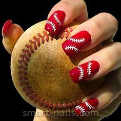smART nails ~ Nail Art Stencils - Shop online: The Baseball Baseball Nail Designs, Baseball Nail Art, Softball Nails, Shellac Nails, Nail Manicure, Toe Nails, Glitter Nails, Nail Polish, Uñas Diy