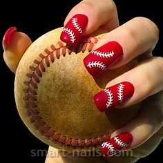 "NEW Design from Smart Nails - The ""Baseball"" is a stencil inspired by the game of baseball, yet it creates such an elegant #NailArtDesign"
