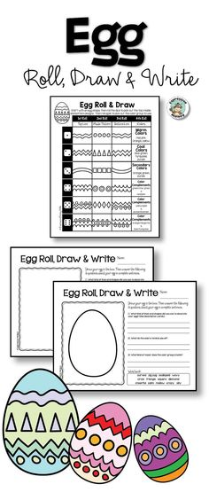 Roll the dice, draw egg designs, then write about it. A fun and easy way to get students to describe their art.