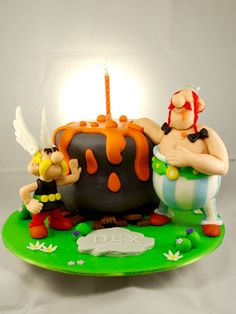 Asterix and obelix cake by thebunnybaker. Pretty Cakes, Beautiful Cakes, Amazing Cakes, Cupcakes, Cupcake Cakes, Asterix E Obelix, Character Cakes, Cake Board, Cake Icing