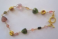 18K Solid Gold~One Of A Kind~ AAA Tourmaline Ancient Bead Bracelet