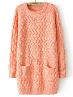 Pink Long Sleeve Diamond Patterned Pockets Sweater