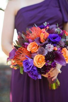 Purple and orange bouquet, ultraviolet {Megan Reeves Photography}