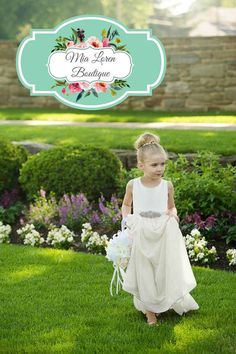 Ivory Flower Girl Dress, Rhinestone Sash, in Off White, Ivory, Blush, Rose, Coral Pink, Ice Mint, Dusty Blue or Lilac, Made in the USA