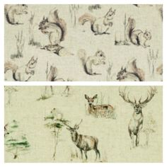 Cushion Cover Countryside Deer Squirrels Linen Look Fabric Handmade Scatter available at www.hollesleycottagecrafts.co.uk from £6.25