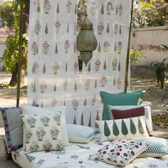ENCHANTING PARADISE GARDEN This design story expresses the sublime beauty of a garden #InBloom and honours that representation of paradise. We call it, 'Bagh-e-Khanum,' which translates to 'Garden of the Exalted Lady.' These handblock printed textiles feature stylized poppies, peonies and cypress trees that evoke the joy of spring and a legacy of life 'al fresco.' The 'Bagh-e-Khanum' textiles include bed and table linen in cotton and muslin. Shop the design story on our #WebBoutique .