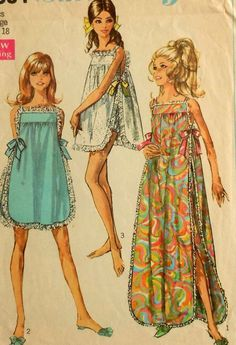 Nightgown Sewing Pattern Simplicity 7694 Sizes side bows Vintage Nightgown Sewing Pattern-It'll make me feel like Audrey Hepburn :DVintage Nightgown Sewing Pattern-It'll make me feel like Audrey Hepburn :D Vintage Outfits, Vintage Dresses, Vintage Dress Patterns, Clothing Patterns, 1960s Fashion, Vintage Fashion, Patron Vintage, Illustration Mode, Pattern Illustration