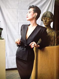 Tina Chow in Yves Saint Laurent, photographed by David Seidner.