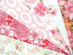 Vintage Sheet Fat Quarter Pack - 6 Reclaimed FQs in Pinks. $10.00, via Etsy.