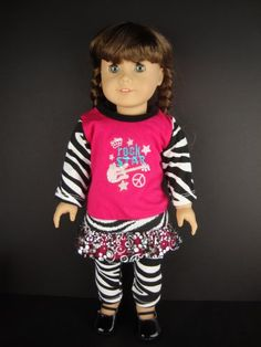 6a410b181 A 3 Pc Rock Star Zebra Print and Hot Pink Accents « Delay Gifts American  Doll
