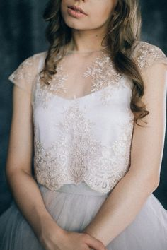 Lace blush wedding top bridal separates two piece by LiluBridal