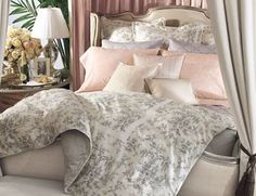 Pink and grey...and toile! Love this bedding.