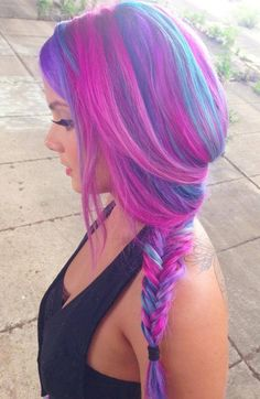 Hot pink and blue, softly side-swept fishtail braid!!!  So pretty!!!!!!