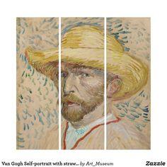 Van Gogh Self-portrait with straw hat Triptych Wood Wall Art, Wall Art Decor, Van Gogh Prints, Van Gogh Self Portrait, Van Gogh Art, Triptych, Wall Decals, Hat, Poster