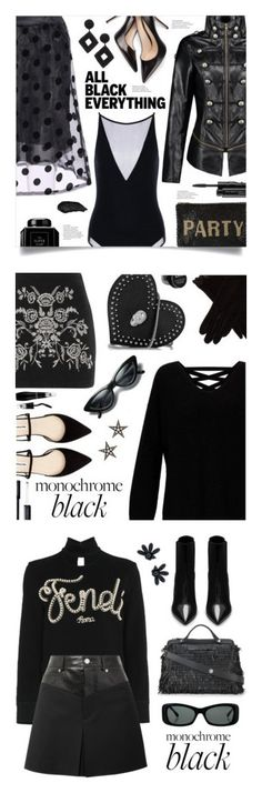 """""""Winners for Mission Monochrome: All-Black Outfit"""" by polyvore ❤ liked on Polyvore featuring Kenneth Jay Lane, Mary Frances Accessories, MAC Cosmetics, Miss Selfridge, Philipp Plein, Topshop, AGNELLE, London Road, Lancôme and NYX"""