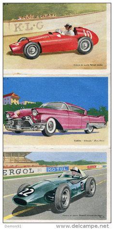 """Automobile - Lot de 5 CPA Cadillac """"eldorado""""- FERRARI - VANWALL F1 - BRISTOL 405 - STUDEBACKER- CHOCOLATS TOBLER TBE"""