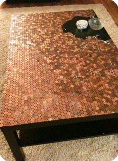 Penny table DIY instructions, not sure I'm ambitious enough for a whole table, but some of the smaller projects have just as cool results!