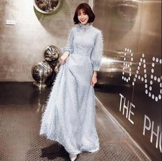 """Buy """"weiyin 2019 Blue Grey Long Sleeves A-line Prom Dresses Muslim Fashion Elegant Women Party Dress Long Formal Dresses for only 100 USD."""