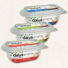 New Daiya dairy-free, soy-free cream cheese style spreads in three flavors: Strawberry, Chives & Onion, and Plain.  They are also free of the top 8 allergens (excluding coconut), gluten-free, vegan, Kosher, and free of artificial ingredients.  Read the ingredient list on their website.