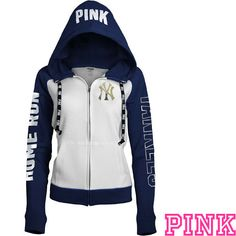 New York Yankees Victoria's Secret PINK® Color Block Full Zip Hoodie - MLB.com Shop