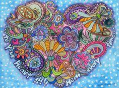 Herz, gezeichnet, gemalt in Aquarell www.marenschmidt.de