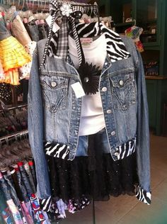 3 piece outfit, including denim jacket.  Also re-styled from a recycled jean jacket originally, from Goodwill | Yelp