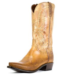 Lucchese Men's Tan Burnished Mad Dog Goat Cowboy 5 Toe Boots - $345