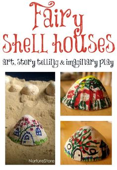 A lovely idea for fairy houses made from shells - mixing art, story telling and imaginary play.