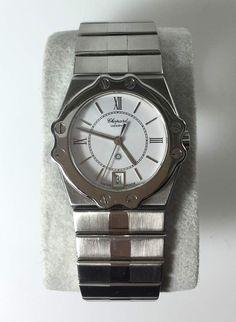 Herren-Armbanduhr Chopard St. Moritz, Ref. 8025, Quartz, Stahl, weißes Zi.blatt, röm.Ziffern schw. — Uhren