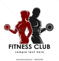 Fitness club logo or emblem with woman and man silhouettes. Woman and Man holds dumbbells. Isolated on white background. Free font Raleway used.