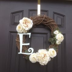 Monogrammed front door wreath