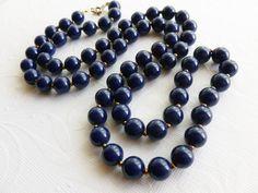 Vintage Blue Bead Necklace. $16.00, via Etsy.