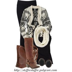 """Cream & Black Aztec Cardigan"" by steffiestaffie on Polyvore"