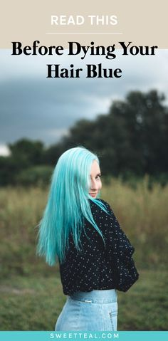 Blue hair dye is a very pesky color to get rid of. These are 6 things I wish I knew before dying my hair blue. Teal Hair Dye, Turquoise Hair Color, Blue Ombre Hair, Dip Dye Hair, Dye My Hair, Neon Hair, Violet Hair, Hair Dye For Kids