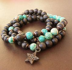 rich brown and turquoise - an awesome combination! #woodbracelet #braceletset #braceletstack #turquoisebracelet #bohobracelet