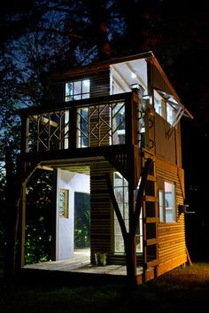 A Two-story Tiny House Tower.  CUTE art studio--so cheap to build