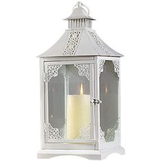 "7 1/2"" White Iron Candle Lantern for Outdoor & Indoor (3.685 RUB) ❤ liked on Polyvore featuring home, home decor, candles & candleholders, candles, filler, home accessories, white candles, colored candles, outdoor lanterns and white lantern"