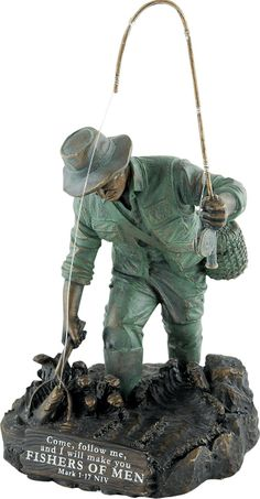 The fisherman figurine has a green and bronze finish and shows a man in full fishing gear scooping up his catch in a fishing net.  The message on the base reads, \Come, follow me, and I will make you Fishers of Men.\ - iMark 1:17\/ibrbrbProduct Details:\/bbrMade of resin.brDimensions: 4-3\/4\(W) x 8-1\/4\(H) x 4-1\/2\(D)] $24.99