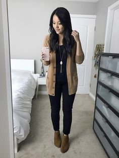 Simple and cute casual look. Love the black-brown color palette.