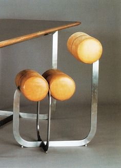 Henri Gaudin; Leather and Metal Chair, 1970.