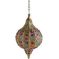 Caravan Gem Hanging Lantern - Gold
