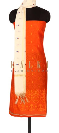 Buy this Orange unstitched suit in floral resham embroidery only on Kalki