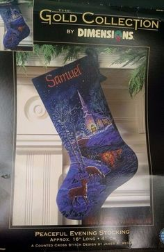 Peaceful Evening Stocking Dimensions Gold Collection 8681 Christmas Blue Started #Dimensions #Stocking