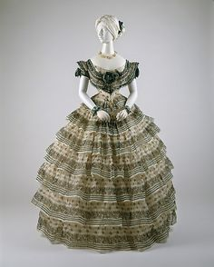 Ensemble (dress with day & evening bodices)  Date: ca. 1855  Culture: American or European  Medium: silk