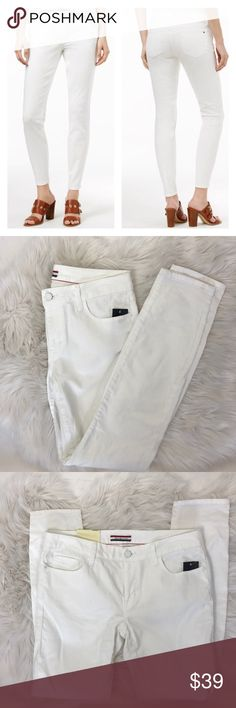 """Tommy Hilfiger White Wash Skinny Jeans Size 6 This listing is for a pair of Tommy Hilfiger white wash Skinny Jeans in a size 6  •sits below the waist fitted through hip and thigh skinny leg •Zip fly Button closure •98% cotton 2% elastin •Turn inside out, machine wash cold, dry promptly •29"""" inseam, 9 1/2"""" front rise 11 1/2"""" back rise •Jeans will be delivered gently steamed and beautifully wrapped in tissue  🍑We strive to ship out the same day if ordered before noon and the next day if…"""